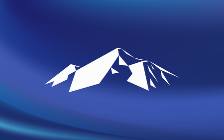 Snow mountains peak (Everest) logo. Much white triangles. Blue background. Can be used as sports badge, emblem of mineral water, tourism banner, travel icon, sign, decor... Illustration