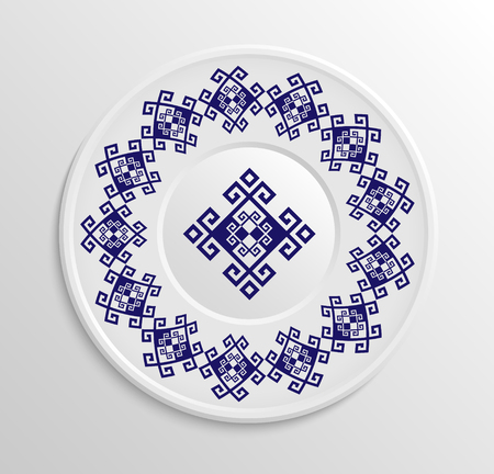 appointments: Table appointments in restaurant.. Decorative plate with round ethnic ornament.  Antique pattern.