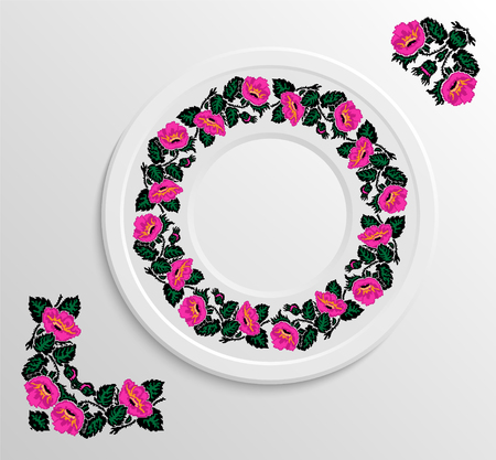 appointments: Table appointments in restaurant.. Decorative plate with round ethnic ornament. Ukrainian style.  Floral lily pattern. Vintage pattern of napkin.