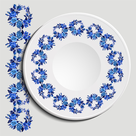 appointments: Table appointments in restaurant.. Decorative plate with round ethnic ornament. Ukrainian style.   Vintage background of napkin with floral pattern (roses, chamomile and cornflowers). Blue tones.