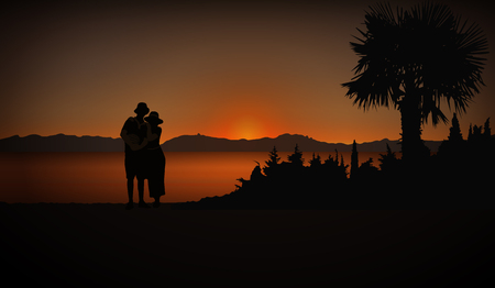 Tourists (Loving couple) in cost with palm trees. Evening. Sunset. Ilustracje wektorowe