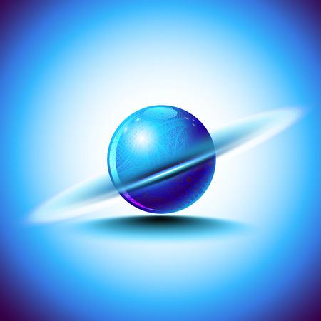 Abstract blue sphere like planet Saturn or rotating nucleus with mandala art. Digital logo. Illustration