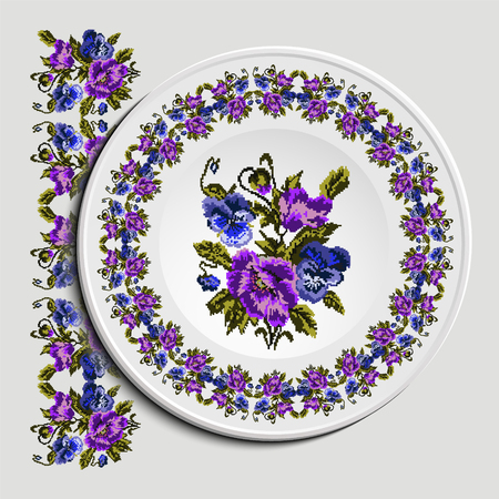 Table appointments in restaurant.. Decorative plate with round ethnic ornament. Ukrainian style.  Floral (poppies and pansies) pattern. Vintage background of napkin. Violet, blue and green tones. Illustration