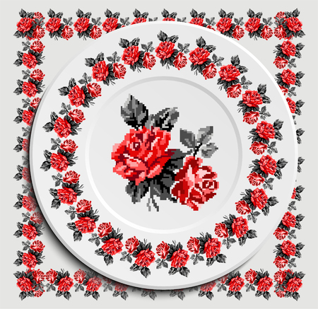 appointments: Table appointments in restaurant.. Decorative plate with round ethnic ornament. Ukrainian style.   Vintage background of napkin with floral rose pattern . Grey and red tones. Illustration