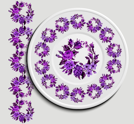appointments: Table appointments in restaurant.. Decorative plate with round ethnic ornament. Ukrainian style.   Vintage background of napkin with floral pattern (roses, chamomile and cornflowers). Violet tones. Illustration