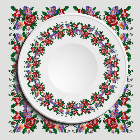 Table appointments in restaurant.. Decorative plate with round ethnic ornament. Ukrainian style. Floral (poppies and pansies) seamless pattern. Vintage background of napkin. Red, blue and green tones.