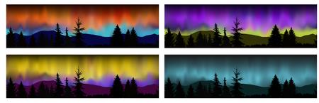 Set von vier Vektor nahtlose Landschaften. Silhouette der Berge, Nadelbäume auf dem Hintergrund der bunten Himmel. Nordlichter. Standard-Bild - 75759129
