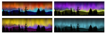 Set of four vector seamless landscapes. Silhouette of mountains, coniferous trees on the background of colorful sky. Northern lights. Illustration