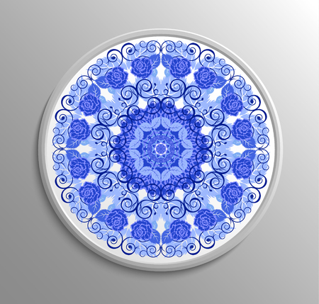 Circular floral lace pattern. Vintage style. Can be used for invitation, menu, card design, for pillow design, banners, signs and others. Blue and white tones.