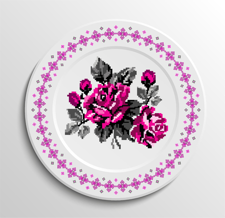 appointments: Decorative plate with round ethnic ornament (border pattern) and rose bouquet. Ukrainian style.  Pink and grey tones.