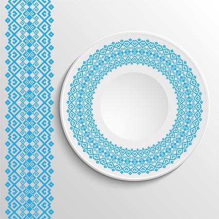 Decorative plate with round ethnic ornament. Ukrainian style.  Folk pattern. Vintage background of napkin. Blue tones.