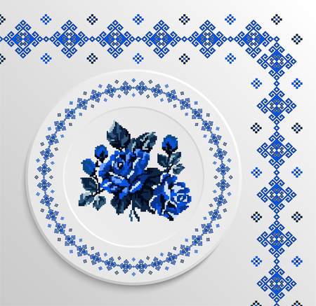 appointments: Table appointments in restaurant.. Decorative plate with round ethnic ornament and rose bouquet. Ukrainian style.  Folk pattern. Vintage background of napkin. Blue tones.