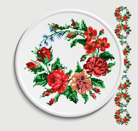 appointments: Table appointments in restaurant.. Decorative plate with round ethnic ornament. Ukrainian colorful style.   Vintage background of napkin with floral pattern (roses, chamomile and cornflowers).