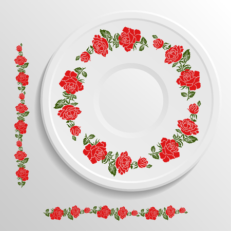 appointments: able appointments in restaurant.. Decorative plate with round ethnic ornament. Ukrainian style.  Floral rose pattern. Vintage background of napkin. Traditional green and red elements.