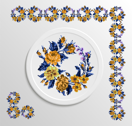 appointments: Table appointments in restaurant.. Decorative plate with round  ornament. Ukrainian style.   Vintage background of napkin with floral pattern (roses, chamomile and cornflowers). Blue and yellow tones. Illustration