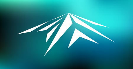 Logo emblem of snow mountain peak (Mont Blanc) in blurred  blue background.