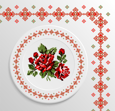appointments: Table appointments in restaurant.. Decorative plate with round ethnic ornament and rose bouquet. Ukrainian style.  Folk pattern. Vintage background of napkin.