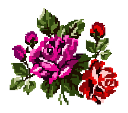 pixelart: Color bouquet of flowers (roses) in red, pink and green tones using traditional Ukrainian embroidery elements.  Can be used as pixel-art, card, emblem, icon.