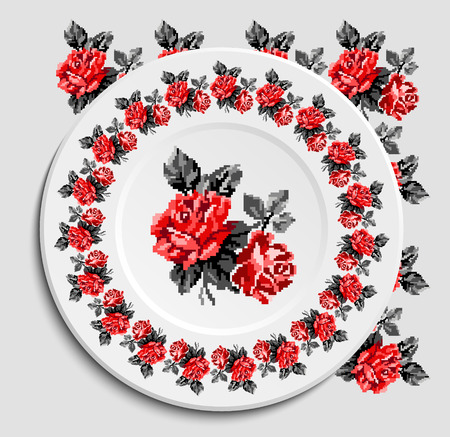 appointments: Table appointments in restaurant.. Decorative plate with round ethnic ornament. Ukrainian style.  Floral rose pattern. Vintage background of napkin. Grey and red tones.