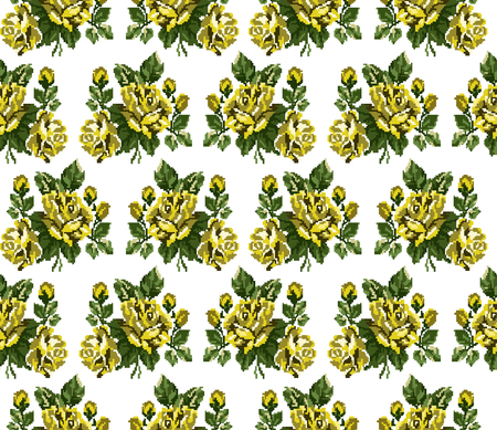 pixelart: Seamless. Pattern. Color bouquet of flowers roses  using traditional Ukrainian embroidery elements. Can be used as pixel-art, card, emblem, icon.Yellow and green tones. Illustration