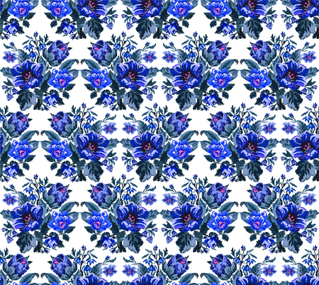 Color bouquet of wildflowers (lilia, bellflower, barberry flower and cornflowers)  using traditional Ukrainian embroidery elements. Blue tones. Pixel-art. Seamless pattern.