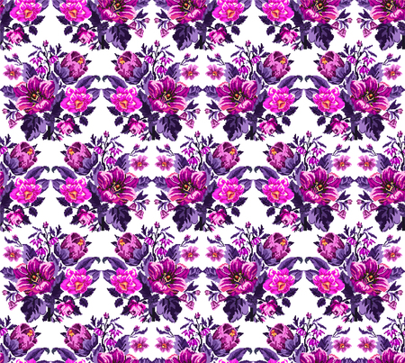 Color bouquet of wildflowers (lilia, bellflower, barberry flower and cornflowers)  using traditional Ukrainian embroidery elements. Pink, violet tones. Pixel-art. Seamless pattern.