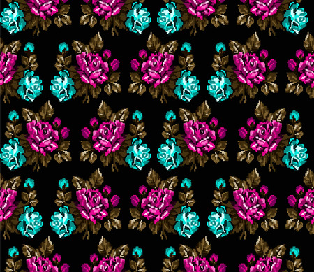 Seamless. Pattern. Color bouquet of flowers roses on the black background  using traditional Ukrainian embroidery elements. Can be used as pixel-art, card, emblem, icon. Violet,yellow and blue tones. Illustration