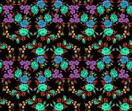 pixelart: Wallpapers or textile. Color circle  bouquet of flowers (roses, chamomile and cornflowers) on the black background using Ukrainian embroidery elements. Seamless. Turquoise,brown,pink tones. Pixel-art. Illustration