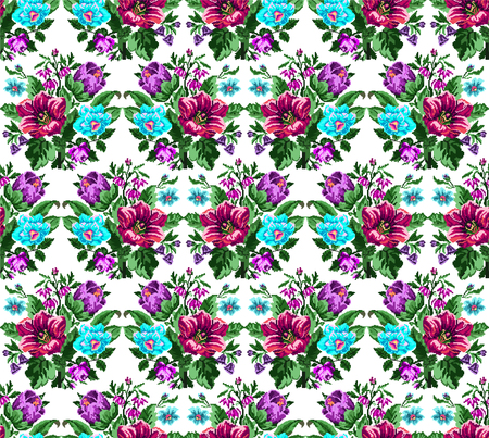 Color bouquet of wildflowers (lilia, bellflower, barberry flower and cornflowers)  using traditional Ukrainian embroidery elements.Pink, violet, blue, green tones. Pixel-art. Seamless pattern.