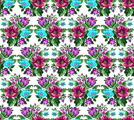 Kleurboeket van wilde bloemen (lilia, bellflower, berberisbloem en korenbloemen) die traditionele Oekraïense borduurwerkelementen gebruiken. Roze, violette, blauwe, groene tonen. Pixel-art. Naadloos patroon.