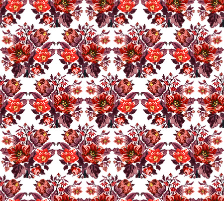 Color bouquet of wildflowers (lilia, bellflower, barberry flower and cornflowers)  using traditional Ukrainian embroidery elements. Red tones. Pixel-art. Seamless pattern. Illustration