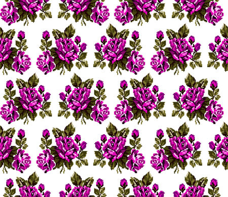 pixelart: Seamless. Pattern. Color bouquet of flowers roses  using traditional Ukrainian embroidery elements. Can be used as pixel-art, card, emblem, icon.Pink and green tones.