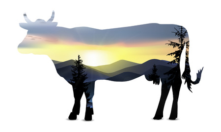 Silhouette of cow with nature landscape of mountains.  Sunrise.  Protect environment banner. Nutrition logo. Illustration