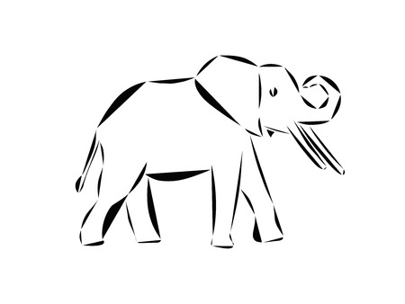 Schematic logo icon of running elephant.