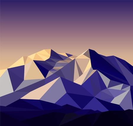 Image  snow mountains peak banner. Polygonal art. Blue, violet and yellow  tones. Illustration