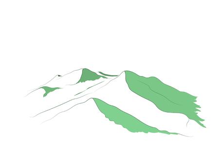 Schematic snow mountains peak (Denali) logo. Mount McKinley. Illustration