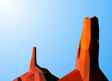 Landscape background. Western desert. Two rocks. Colorful  tones.