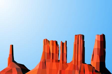 Landscape background. Western desert.  Shining. Blue sky. Red rocks.