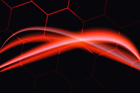 Neon lights presentation. Laser effect. Hexagonal elements. Black, pink and red tones. Illustration