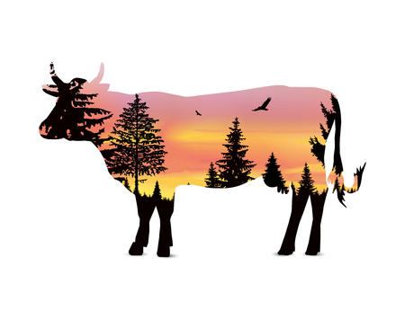 coniferous: Silhouette of cow with coniferous trees on the background of colorful sky. Sunset. Illustration