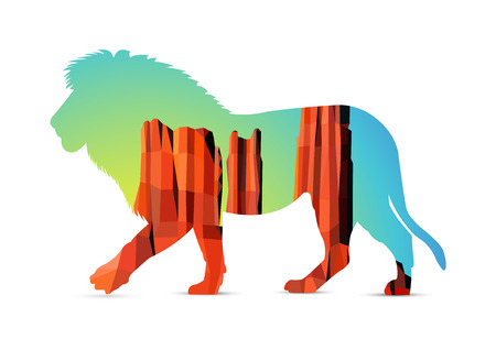 southwest: Silhouette of lion with landscape background. Western desert. Red rocks. Sunrise. Colorful (yellow and blue) sky. Illustration