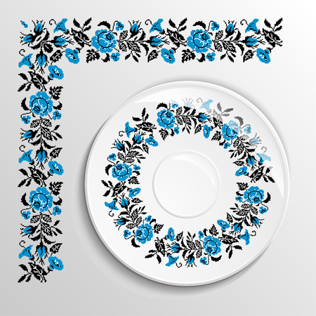 appointments: Table appointments in restaurant.. Decorative plate with round ethnic ornament. Ukrainian style.  Floral rose pattern. Vintage background of napkin. Blue and black tones.
