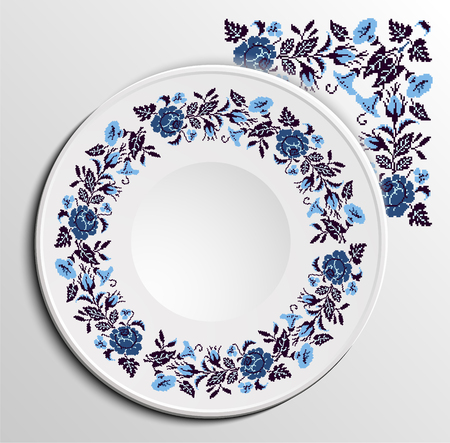 appointments: Table appointments in restaurant.  Decorative plate with round ethnic ornament. Ukrainian style.  Floral rose pattern. Vintage background of napkin.  Dark blue, blue and black tones.