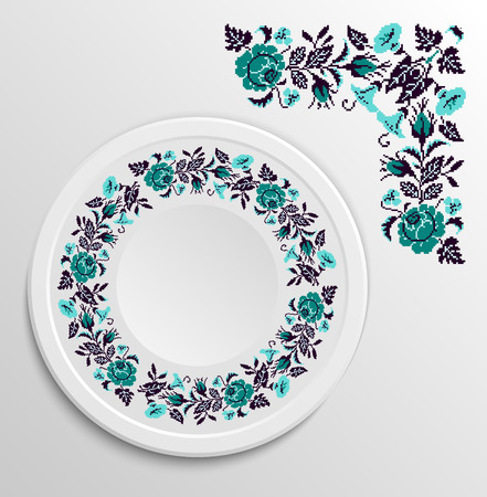 appointments: Table appointments in restaurant.. Decorative plate with round ethnic ornament. Ukrainian style.  Floral rose pattern. Vintage background of napkin. Turquoise and black tones. Illustration