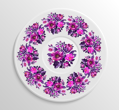 appointments: Table appointments in restaurant. Decorative plate with round ethnic ornament. Ukrainian style. Vintage floral pattern.  Violet and pink tones.
