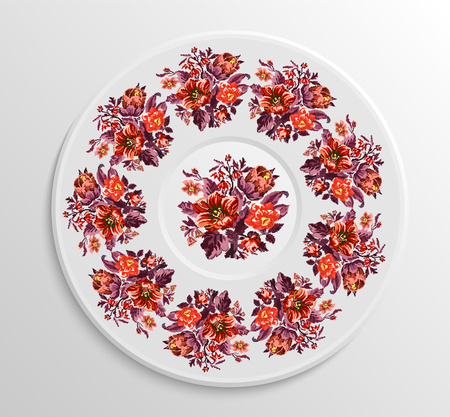 orange roses: Table appointments in restaurant.. Decorative plate with round ethnic ornament. Ukrainian style. Vintage floral pattern.  Red and orange pastel  tones.