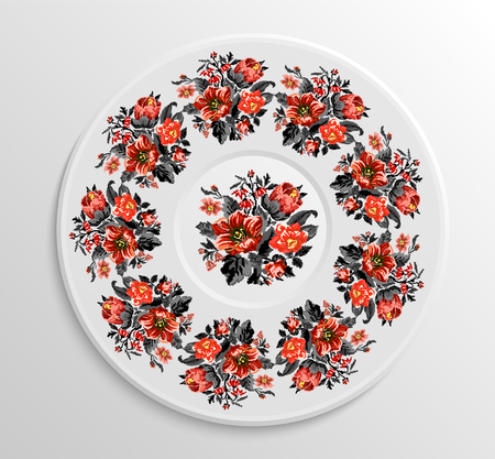 appointments: Table appointments in restaurant. Decorative plate with round ethnic ornament. Ukrainian style. Vintage floral pattern.  Red and black tones.