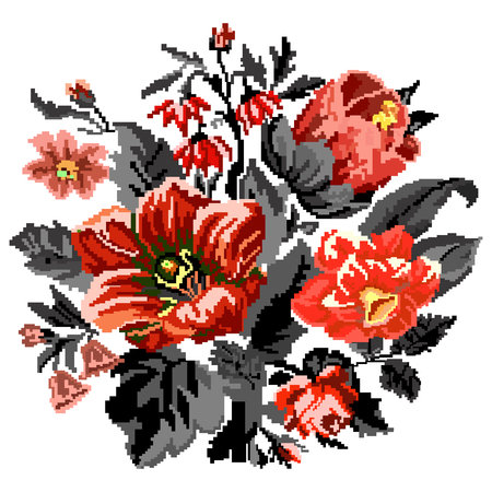 ukrainian traditional: Color bouquet of wildflowers (lilia, bellflower, barberry flower and cornflowers)  using traditional Ukrainian embroidery elements. Can be used as pixel-art.  Red, orange and black tones. Illustration