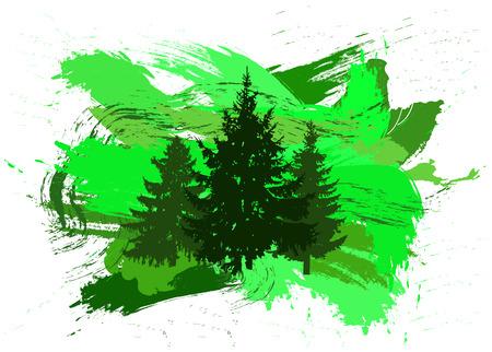 塗料のパッチで 3 つの松の木のシルエット。スプラッシュ。緑のトーン。