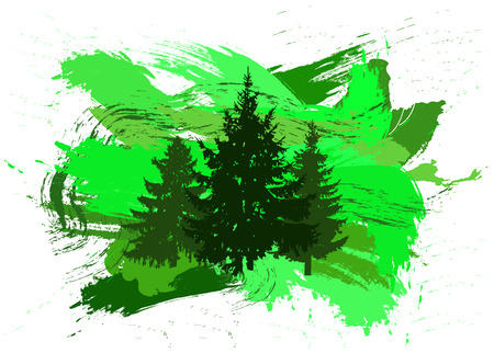 Silhouette of three pine trees with patches of paint. Splash. Green tones.